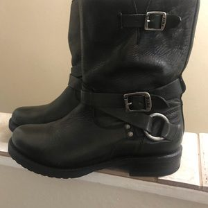 Frye Boots with buckles and side zip